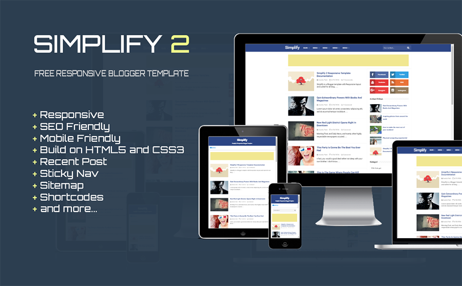 Simplify Free SEO Responsive Blogger Template | free and SEO ...