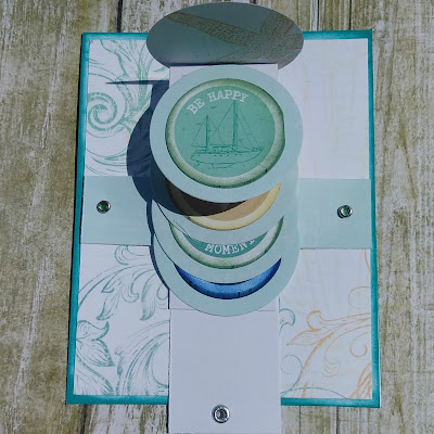 Waterfall Card featuring Anchors Aweigh and PowderPuff Chalk Ink designed by LeeAnn McKinney