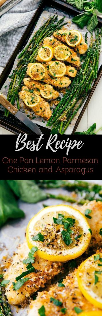 One Pan Lemon Parmesan Chicken and Asparagus #dinnerrecipe #food
