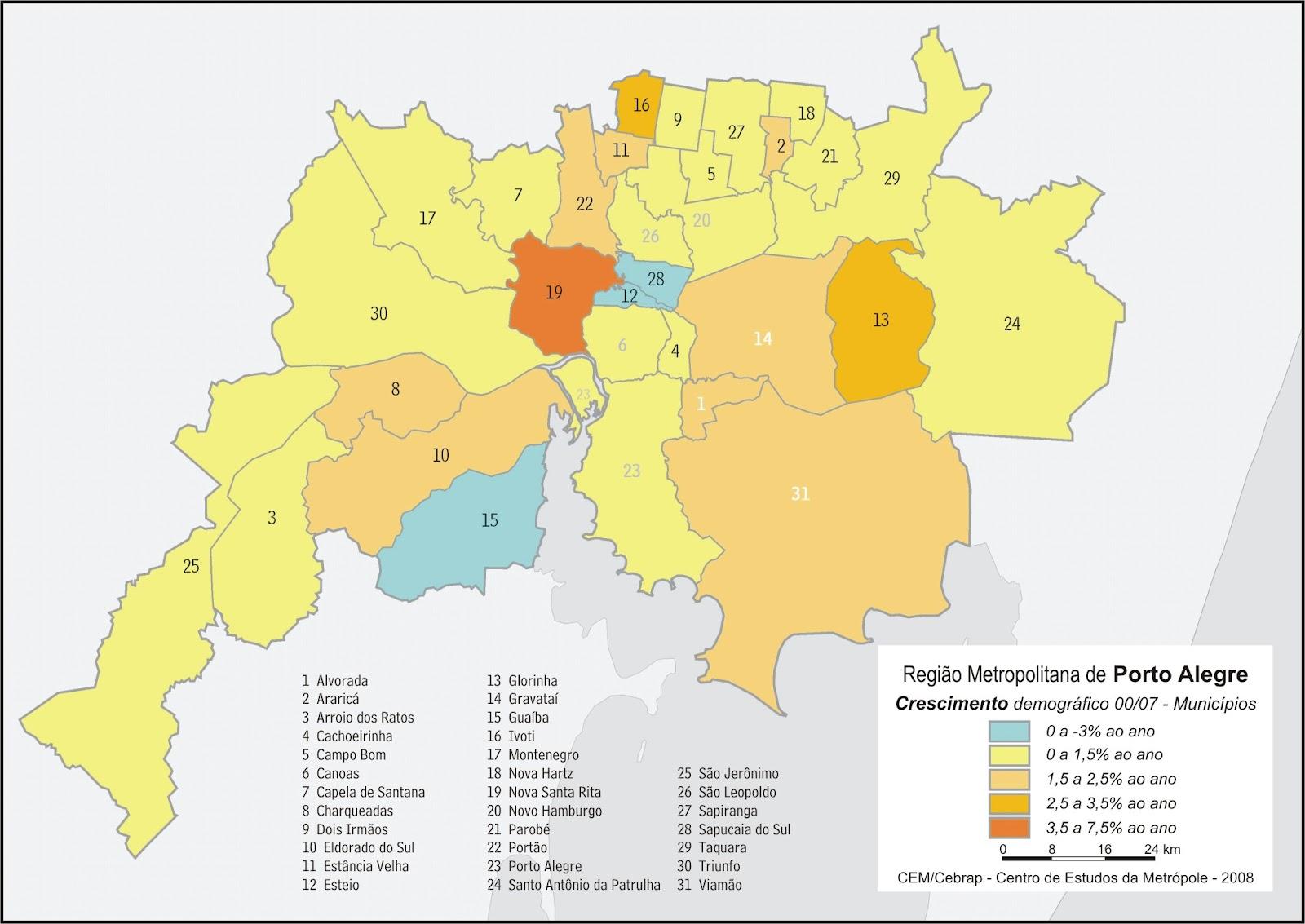 mapa do grande porto Grande Porto Alegre: MAPAS: Crescimento demográfico na Grande  mapa do grande porto
