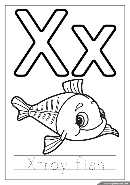 x ray fish coloring page, alphabet coloring page, missive of the alphabet x coloring