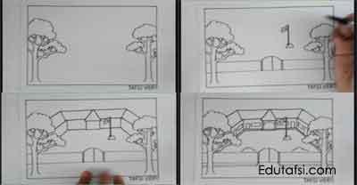 Cara menggambar rumah sekolah step bu step