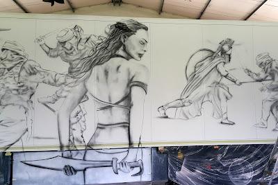 Malowanie motywu graficznego na naczepie tira, aerografia samochodowa, graffiti na tirze, airbrush truck