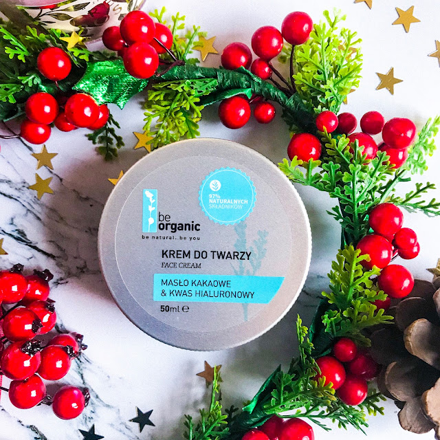 pielęgnacja suchej skóry zimą Be Organic Krem do Twarzy Masło Kakaowe & Kwas Hialuronowy Kontigo