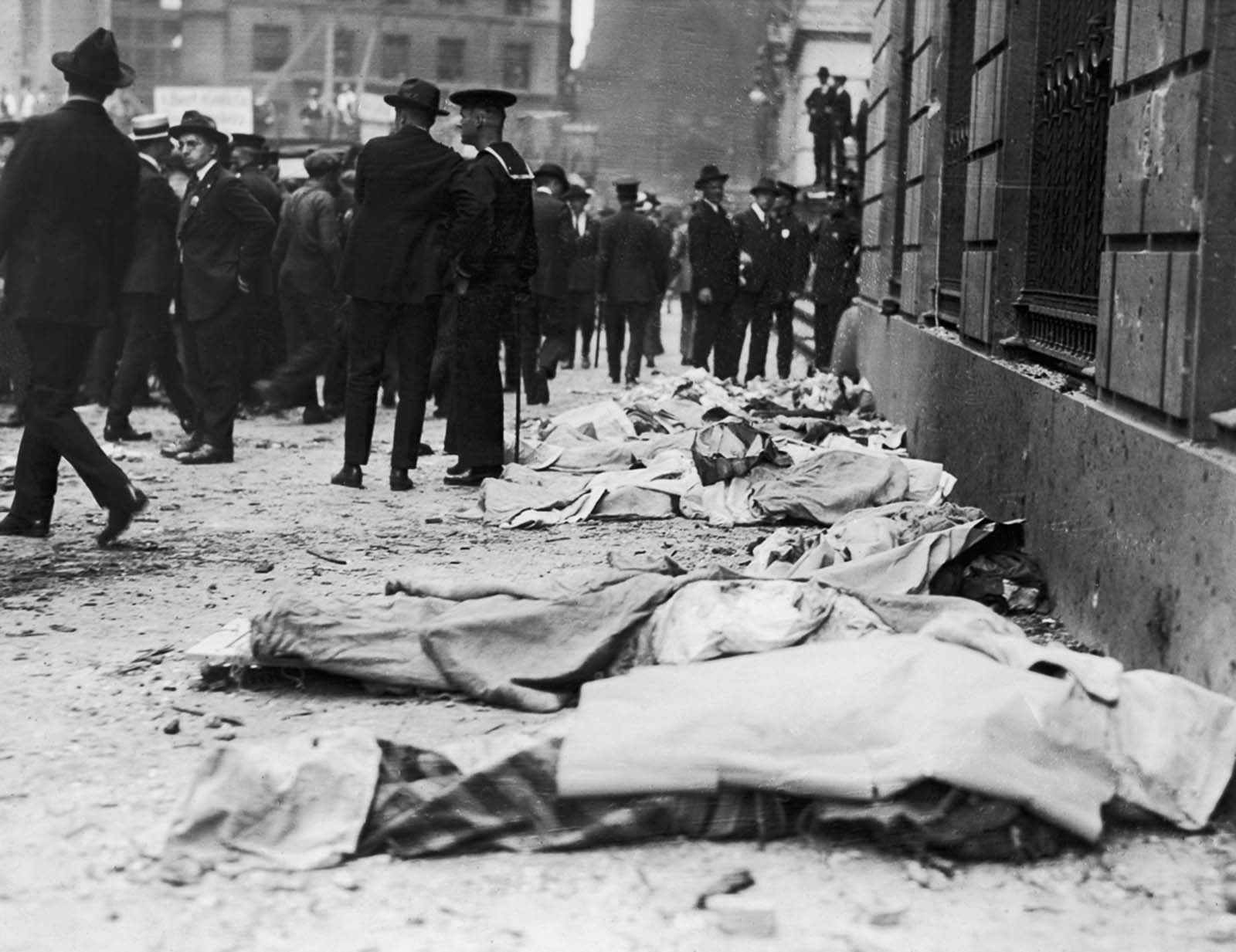 The Wall Street bomb killed more people than the 1910 bombing of the Los Angeles Times, which was the deadliest act of terrorism on U.S. soil up to that point.