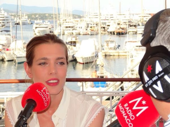 Charlotte Casiraghi giving an interview in Monaco for the Global Champions Tour