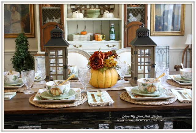 Fall Table Setting-French Country- Farmhouse-Fall Dining Room-From My Front Porch To Yours