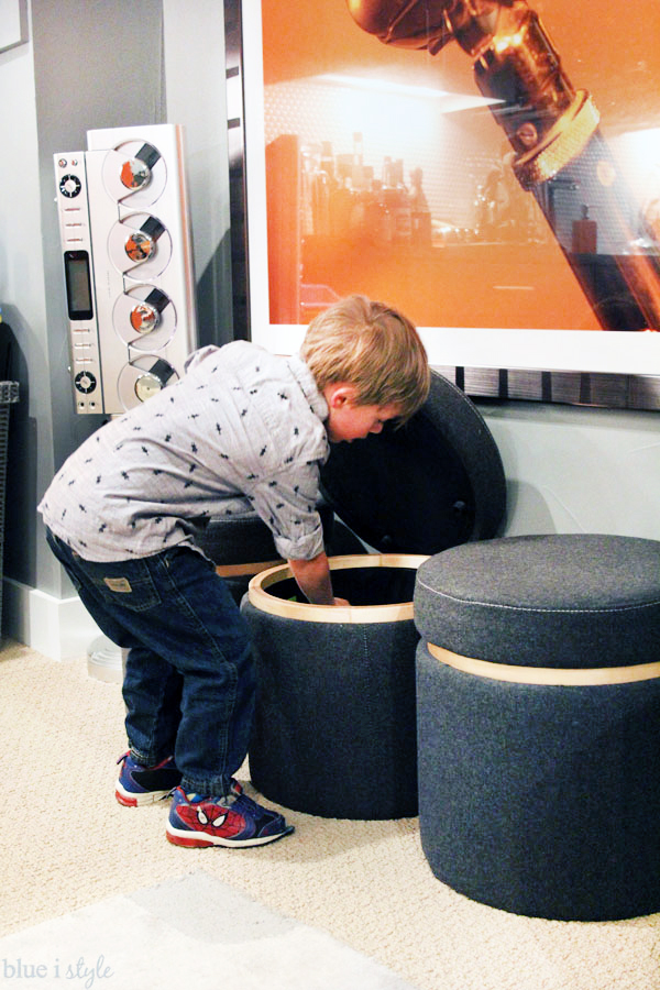 Use ottomans for toy storage