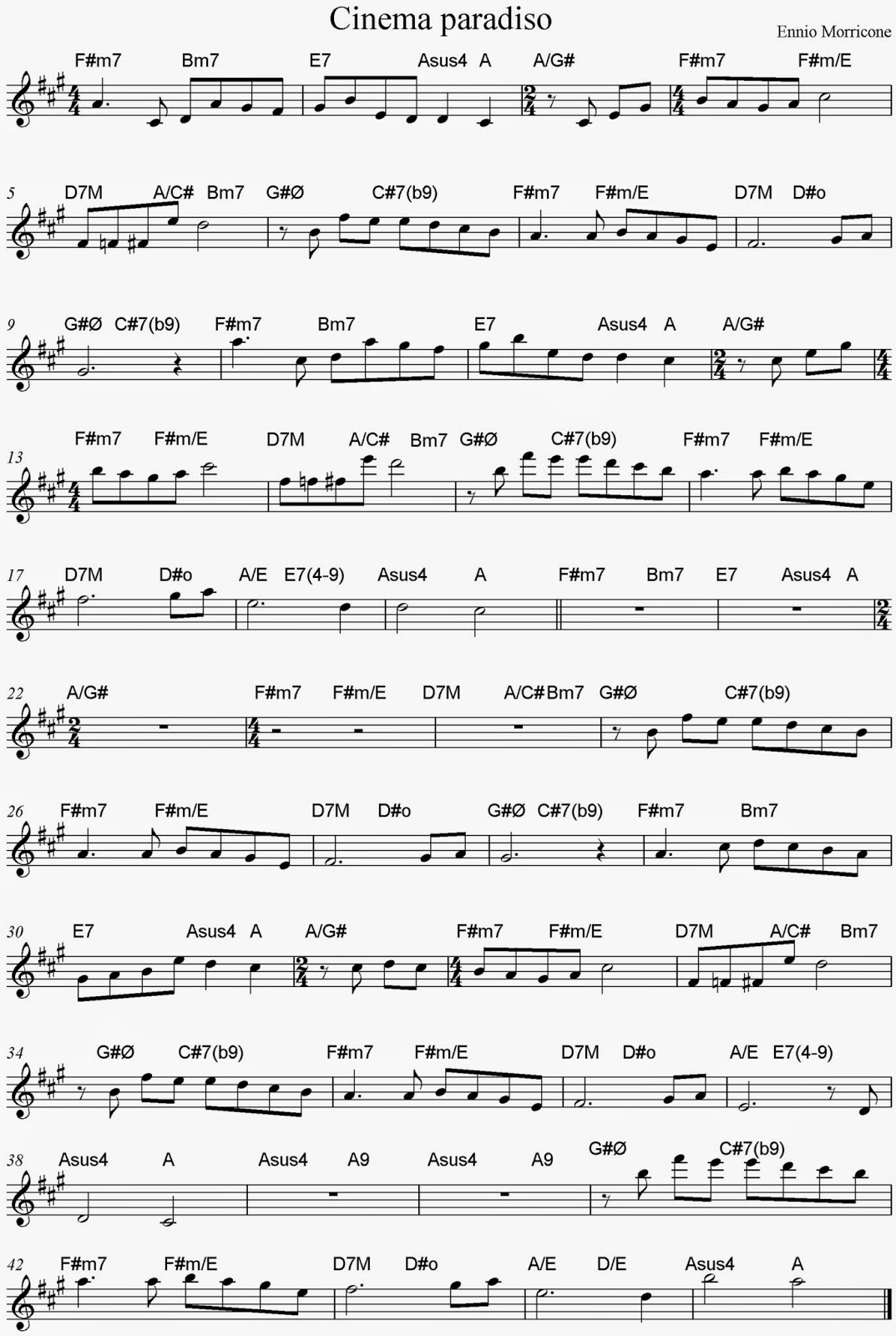 PARTITURA DE CINEMA PARADISO CON ACORDES SHEET MUSIC AND CHORDS