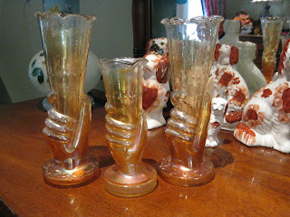 Antiques Shamtiques Carnival Glass Hand Vases Jain And