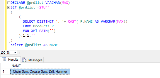 How to create comma separated values in SQL server?