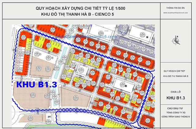 Sơ đồ khu B1.3 dự án Thanh Hà Cienco 5