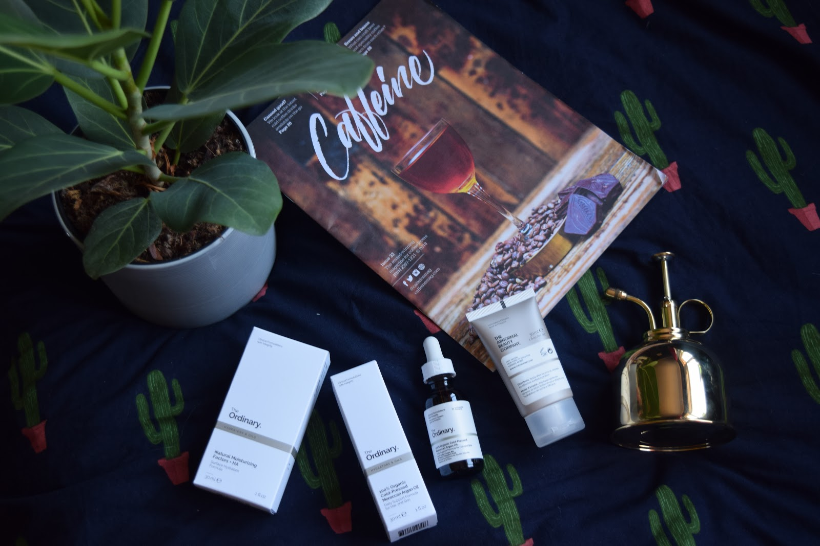 flatlay of the ordinary beauty products, a bengal fig, magazine and brass plant mister