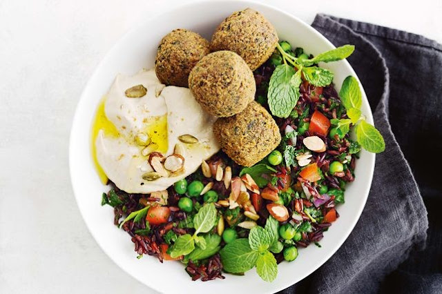 Speedy falafel and black rice tabouli