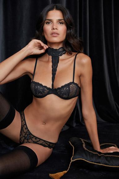 conjunto lencería sujetador braga encaje negro