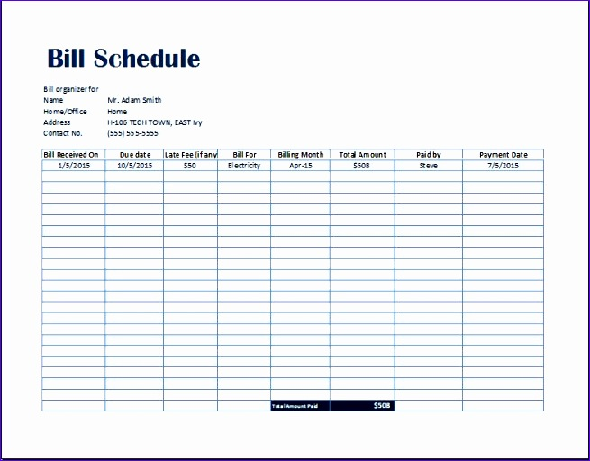 simple bill payment organizer with date tracker excel template. Black Bedroom Furniture Sets. Home Design Ideas