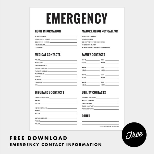 Emergency contact free printable