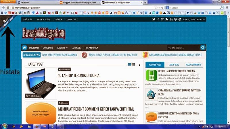 Meletakkan Counter Histats Di Sudut Halaman Blog