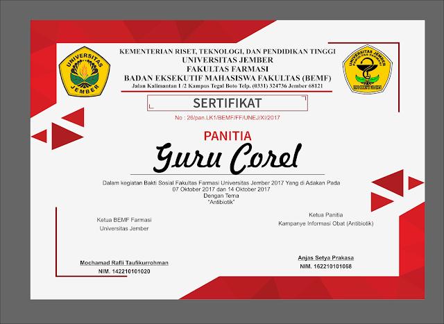 Gratis Template Sertifikat Kegiatan Bisa Di Edit CDR | Guru Corel