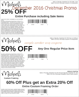 free michaels coupons december 2016