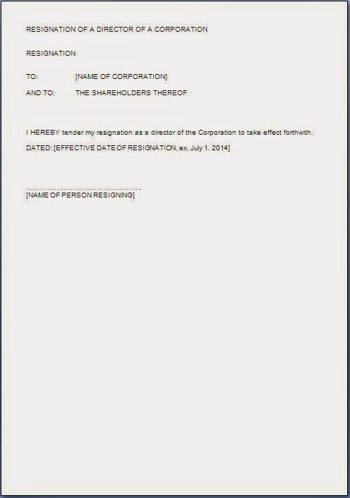 Director Resignation Letter Format in Word