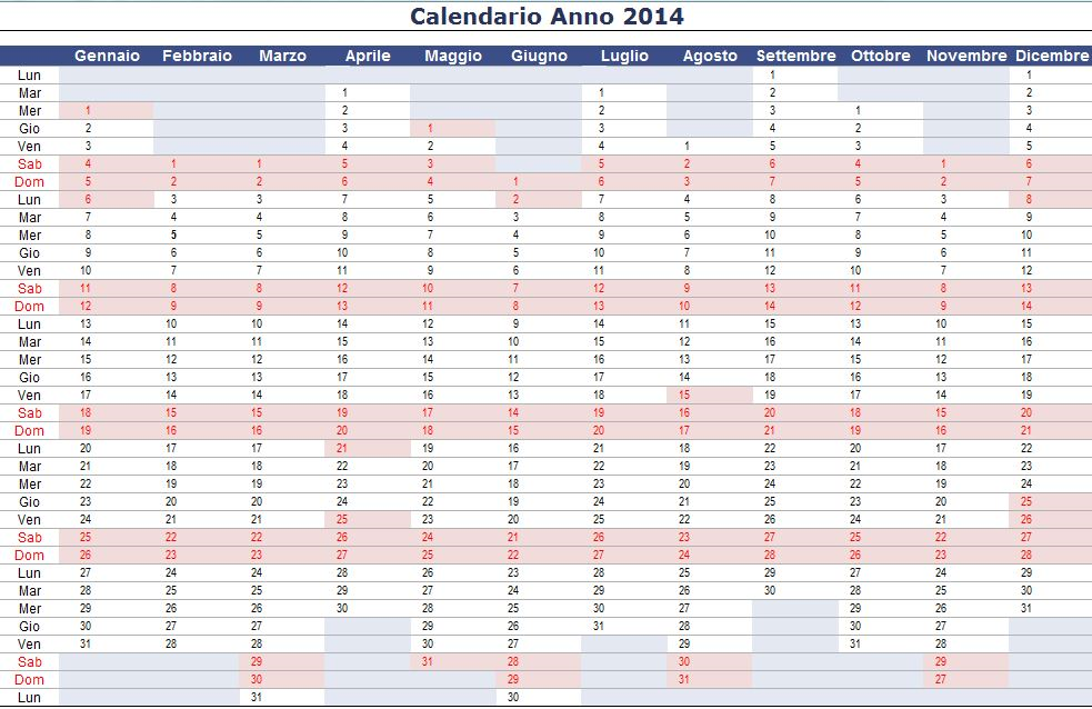 Calendario Anno 2014.L Angolo Del Paga Calendario 2014 Verticale In Excel