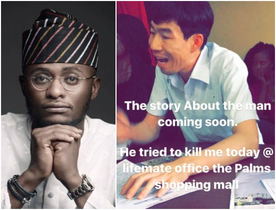 Ubi Franklin Narrates How Chinese Man Almost Stabbed Him In Lekki (Photo)