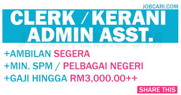 Kerani Admin Assistant Jobcari