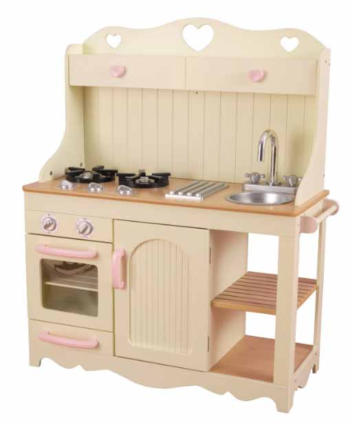 shabby chic wooden toy kitchen cut out hearts pretty - toddler Christmas gift guide