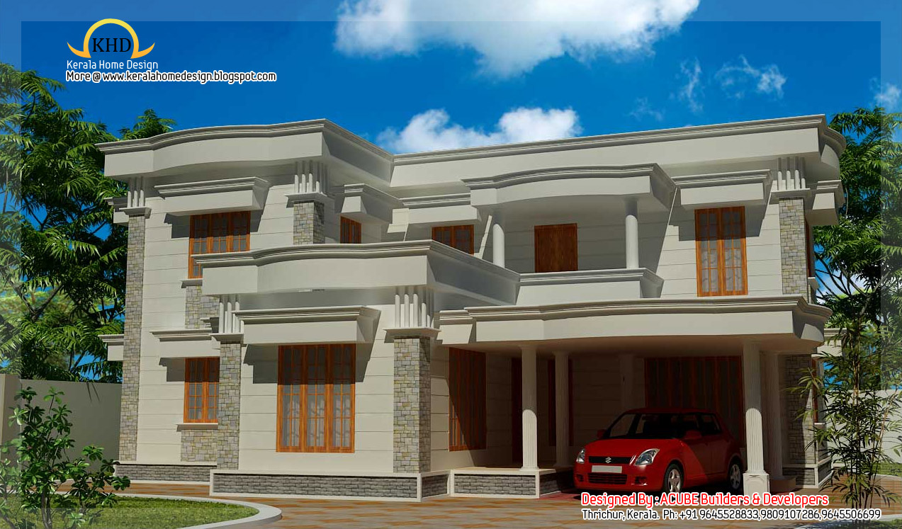 duplex villa elevation 2090 sq ft kerala home design and floor plans. Black Bedroom Furniture Sets. Home Design Ideas