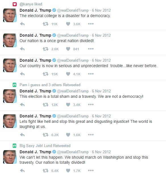 For Some Reason Trump Has Now Deleted These Tweets Sent When He Thought Romney Won The Popular Vote But Lost In The Electoral College