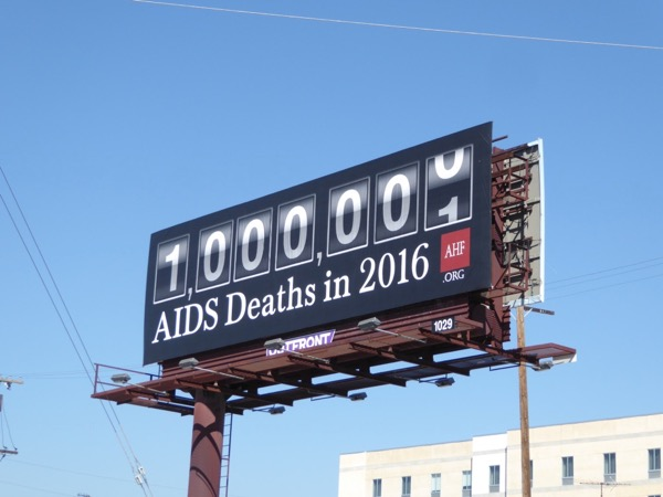 1m AIDS deaths in 2016 AHF billboard