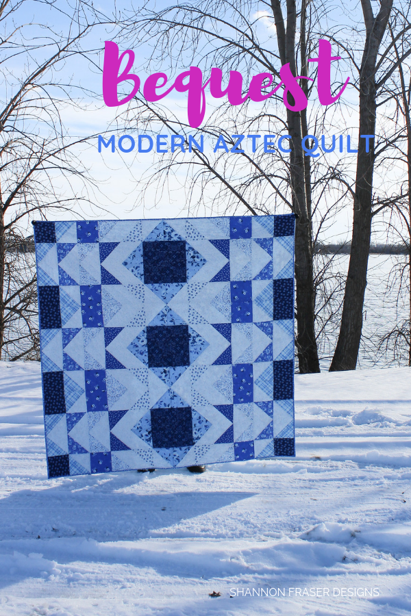 Bequest Modern Aztec Quilt in the snowy wild
