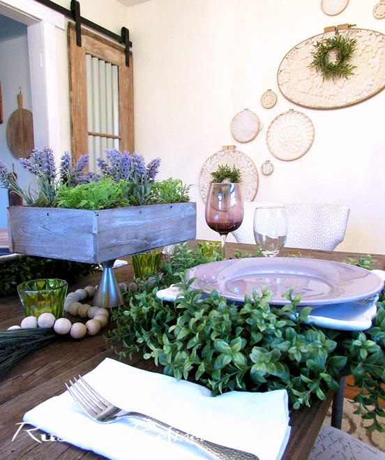 Winter Tablescape using gorgeous color and texture to drive the blues away.