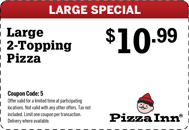 Save money on things you want with a Pizza Inn promo code or coupon. 16 Pizza Inn coupons now on RetailMeNot.