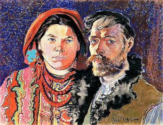 """Stanisław Wyspiański - """"Autoportret z żoną"""""""