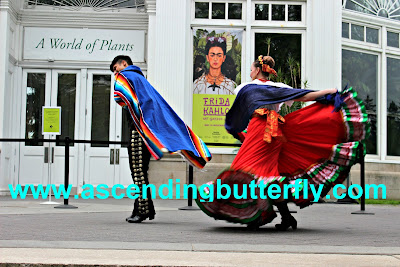Calpulli Danza Mexicana performing outdoors at Frida Kahlo Art Garden Life Exhibition at The New York Botanical Garden
