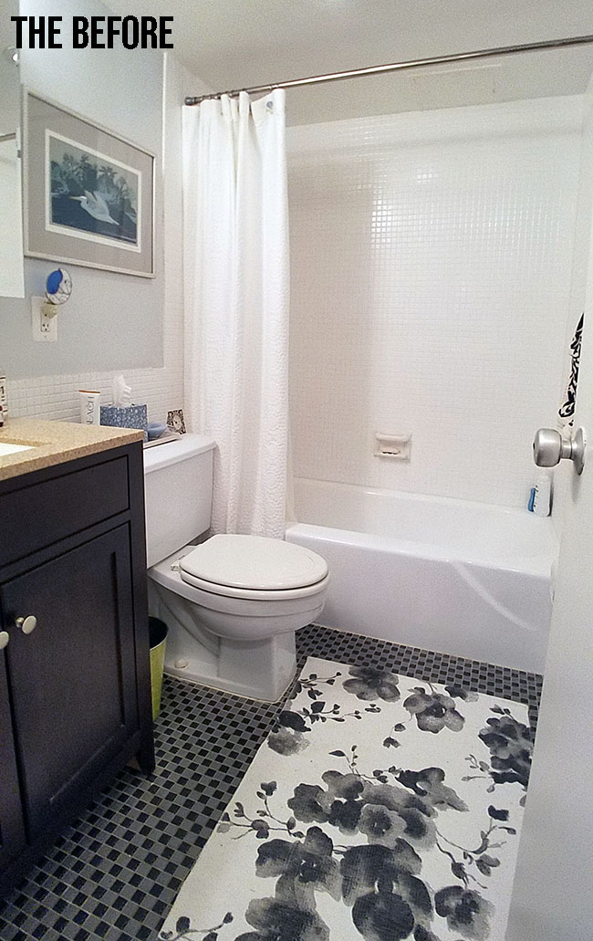 white and black bathroom before makeover