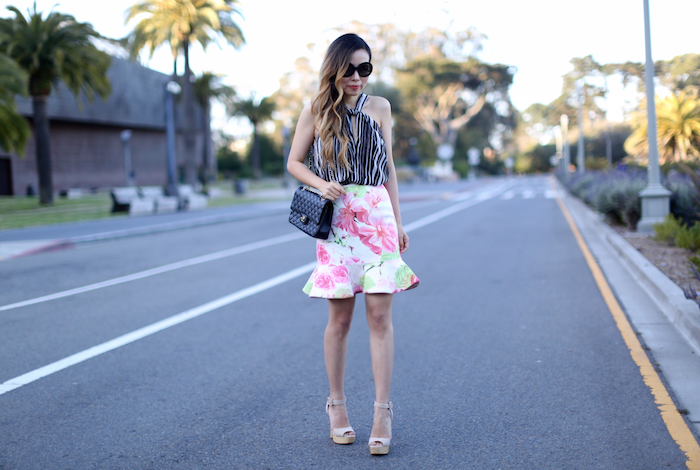 ASTR knot front tank, halter top, floral peplum skirt, floral skirt, schutz sandals, prada sunglasses, chanel classic flap bag, chanel slingback heels, summer style, how to mix prints, san francisco street style