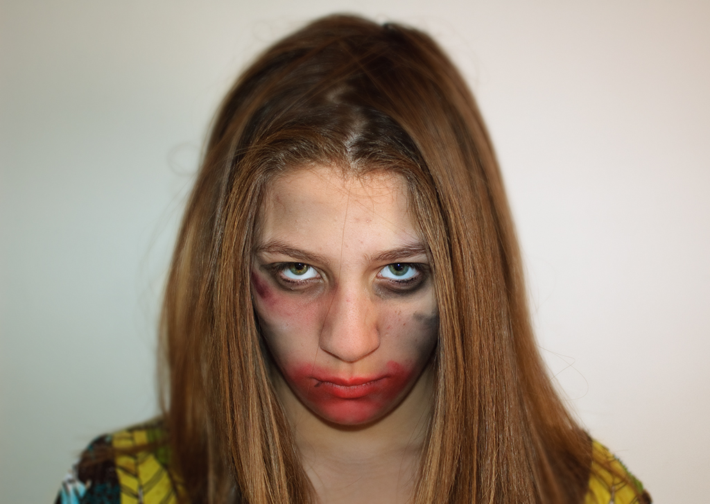 Portrait of Improvised Terror Makeup