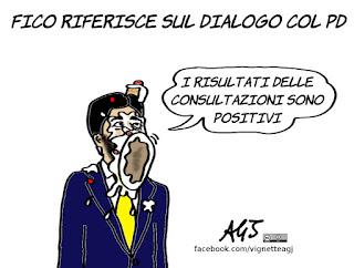 fico, m5s, pd, alleanze, governo, consultazioni bis, politica, vignetta, satira