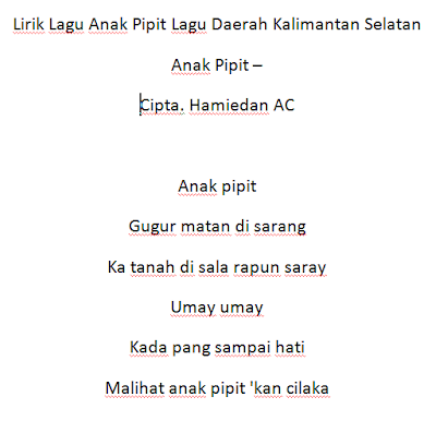 Lirik Lagu Anak Pipit Lagu Daerah Kalimantan Selatan