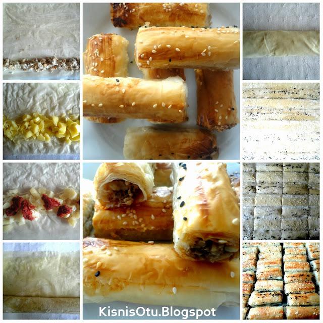 baklava yufkasından börek tarifi, börek tarifi, cevizli börek tarifi, peynirli börek tarifi,