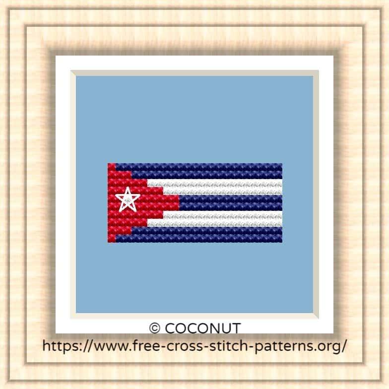 NATIONAL FLAG OF CUBA CROSS STITCH CHART