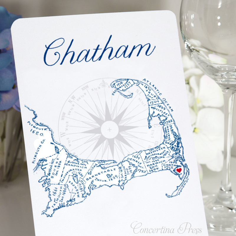 Cape Cod Town Name Chatham Table Numbers for your Wedding from Concertina Press