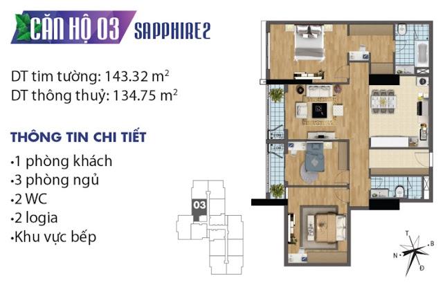 Thiết kế căn hộ số 3 tòa Sapphire 2