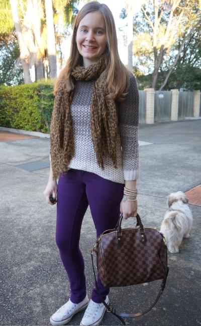 SAHM style ombre open knit purple skinny jeans leopard print scarf white converse | AwayFromBlue