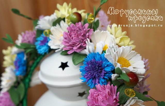 собрать ободок с цветами из фоамирана