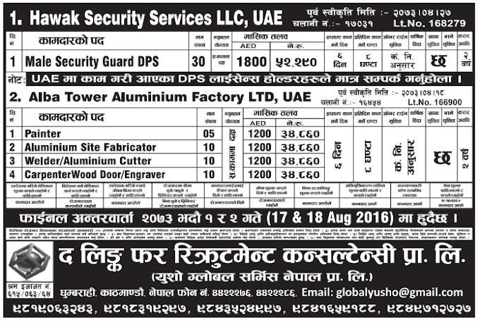 Jobs For Nepali In HAWAK SECURITY SERVICES LLC, U.A.E. Salary -Rs.52,290/