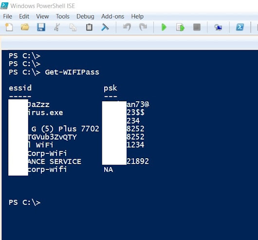 How to get the list of WiFi Passwords stored on your computer using Powershell